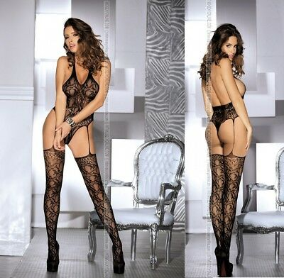 Bodystocking catsuit tutina sexi intimo donna hot lingerie calze rete body sexy