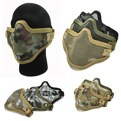 Airsoft Steel Mesh Half Face Mask Tactical Protect Strike Paintball Hallowe  GN