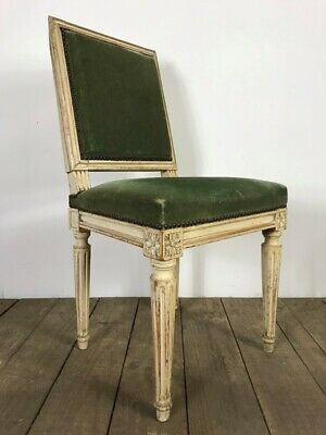 Stunning Antique French Louis XVI Style Original Painted Velvet Chair