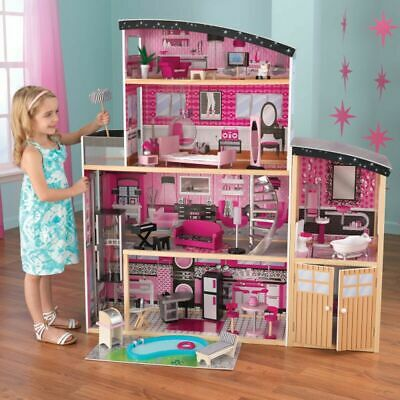NEW KidKraft Sparkle Mansion Dollhouse Girls Play Dolls House Barbie's 65826