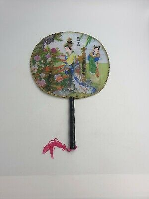 Vtg Chinese Silk Screen Paddle Fan Bamboo Handle Handpainted Geishas Peonies