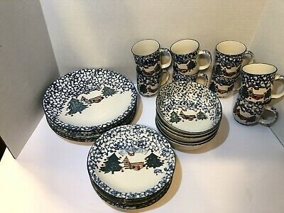 Folk Craft Cabin In The Snow by Tienshan  Dinnerware Plate, cup, bowl, LOT 26 pc
