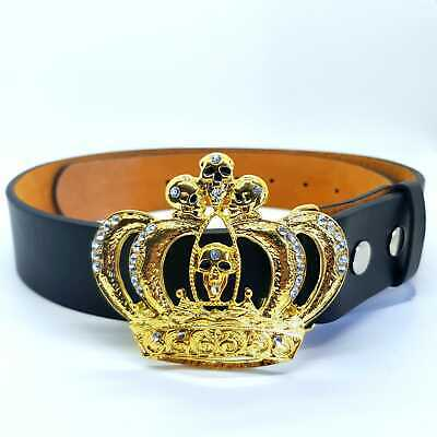 Golden Skull Crown Gilt Bling Belt Diamante Buckle Punk Rock Gothic