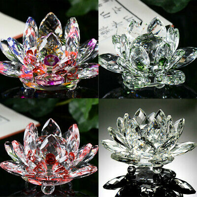 Large All Colours Crystal Lotus Flower Ornament Crystocraft Home Decor_Newukfast