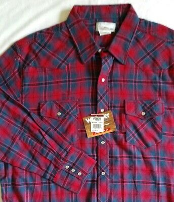 0c20e662 Men's Wrangler Wrancher Flannel Shirt Red/Blue Plaid Sz XXL Pearl Snaps