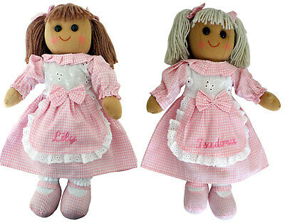 Personalised 40cm Rag Doll Baby Girl Christening Birthday  Bridesmaid Gift Toy