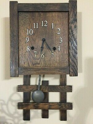 """Antique Sessions Mission Style Wooden Wall Clock, 19"""" Tall x 9 1/2"""" W x 4"""" Deep"""