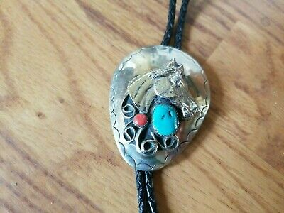 Handmade Vtg Southwest Nickle Silver Bolo Tie Horse Head Turquoise Coral