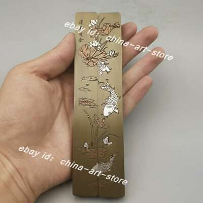 """5.9"""" Collect Chinese Bronze Lotus Flower Fish Stationery Paper Weight Pair 连年有余"""