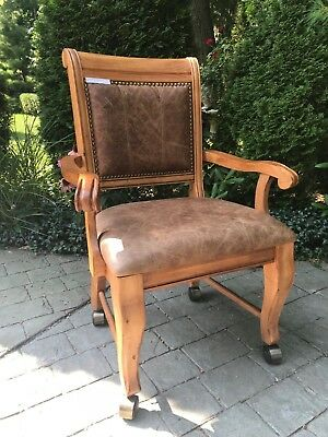 Rustic/Vintage Style Leather and Wood Chairs