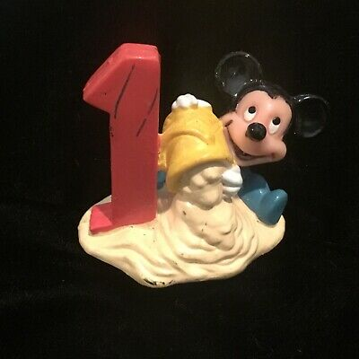 Vintage Disney Cake Topper - #1 Baby Mickey Mouse - APPLAUSE - PVC Figure