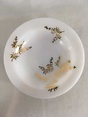 "Federal Heatproof F 8"" White Milk Glass Golden Glory Bamboo Rimmed Soup Bowl"