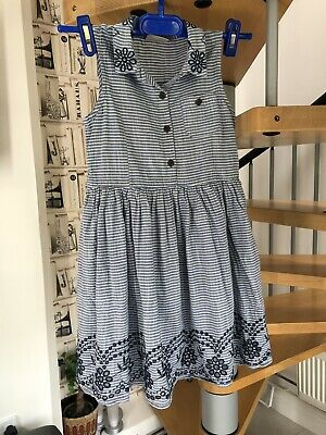 Next Girls Blue & White Stripe embroidered lined dress age 6 years