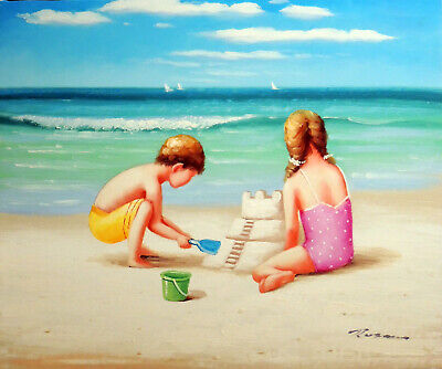 Beach Sand Castle Boy & Girl Children Ocean Shore Stretched 20X24 Oil Painting