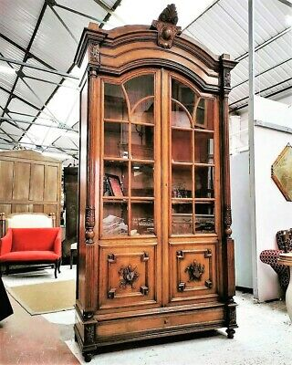 A Beautiful Large 19Th Century Carved Oak Bibliotheque/Bookcase