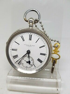 Antique solid silver gents Kendal & Dent London pocket watch 1896 working ref559