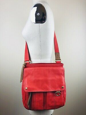 e91745adf9 FOSSIL MORGAN Traveler Medium RED Leather Messenger Crossbody Shoulder Bag  Purse