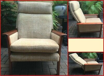 Danish Modern Teak Frame High Back Upholstered Reclining Lounge Chair