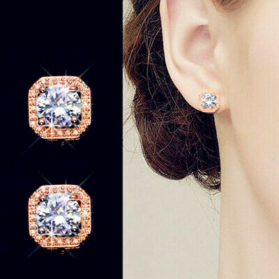 Rose Gold Crystal Square Stud Earrings 925 Sterling Silver Womens Jewellery Gift