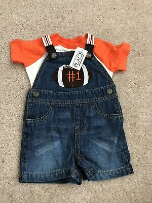 NWT childrens Place Infant Boys 3-6M Football Overall Set