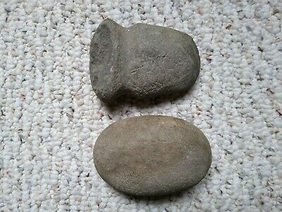Pre-Historic Neolithic Stone Polished Axe Head and Shaping Stone