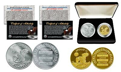 Apollo 11 50th Anniversary Man in Space Medal 2-Piece Commemorative Coin Set Box