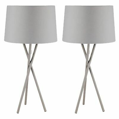 Pair Of Large Modern Ceramic Grey Table Lamps Bedside Lights