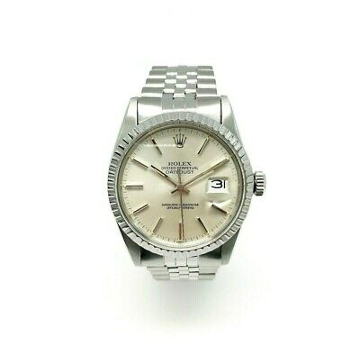 Rolex 36MM Datejust Watch Stainless Steel Ref # 16030 Circa 1980's Jubilee Band