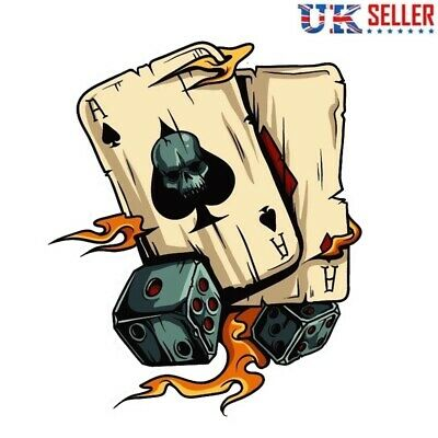 Ace of Spades Skull & Dice Vinyl Sticker, Decal, Skeleton, Car, Flames, Poker UK