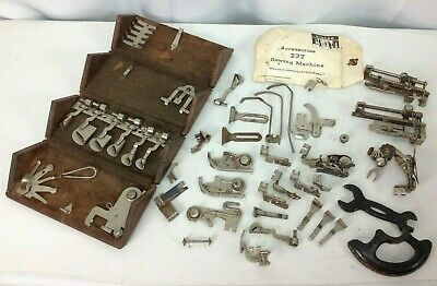 Antique Singer Sewing Machine Attachments & Accessories 1889 Wood Puzzle Box Lot