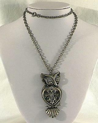 Vintage Torino Pewter or Antiqued Silver Tone Heart Shaped Owl Necklace