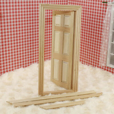 1/12 Dollhouse Miniature Unpainted Wooden Interior Door With Frame 6-Panel S5C1