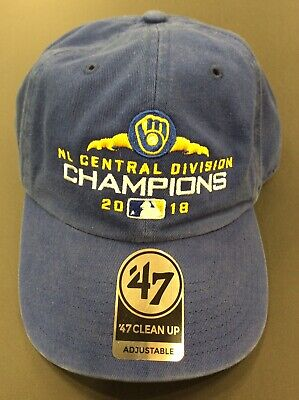 f57a3e3f '47 Clean Up 2018 Milwaukee Brewers NL Central Division Champions  Adjustable Cap. '