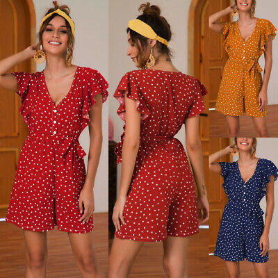 Women Rompers V-Neck Polka Dots Jumpsuit Ruffles Sleeve Holiday Beach Playsuit