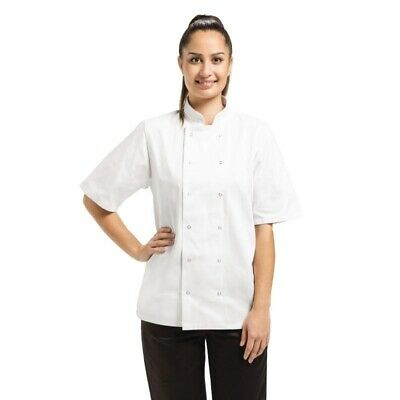 White Vegas Chef Jacket Short Sleeve  Brand New