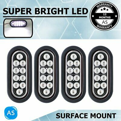 "4X 12V 10LED Oval Tail Rear Light  White 6.5"" Trailer Van Truck Bus Car ATV Etc"