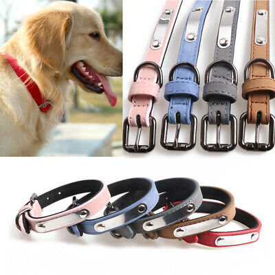 Adjustable Soft Padded PU Leather Dog Collar Name ID For Small Medium Large Dogs