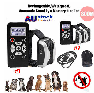 800M Rechargeable Electric Remote Pet Dog Training Collar Anti Bark Waterproof