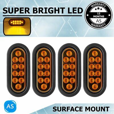 "4X 12V Turn Signal Tail Oval Light Lamp 10LED Amber 6.5""  Back Trailer Truck Bus"