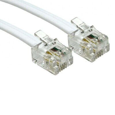 5m Long RJ11 To RJ11 Cable Lead 4 Pin ADSL DSL Router Modem Phone 6p4c - WHIT TS
