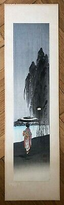 "KOHO SHODA ""BEAUTY IN THE RAIN"" ORIGINAL WOODBLOCK PRINT.  FIRST ED, 1920's"