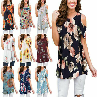 Plus Size Women Cold Shoulder Shirt Slouch Floral Blouse Peplum Tops Party Sexy