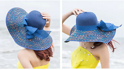online store c8fac 85594 US Women Girl Summer Straw Floral Cap Hat Foldable Summer Beach Sun Bowknot  Hats