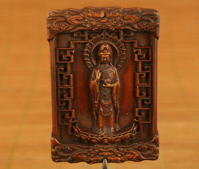 Chinese old boxwood hand carved Guanyin Buddha statue figure pendant gift