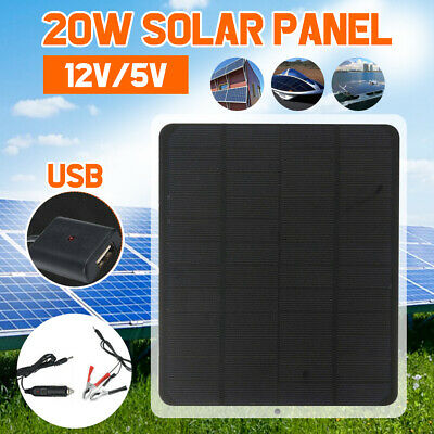 20W Solar Panel 12V / 5V Battery Charger for RV Boat Car Home +Alligator Clip