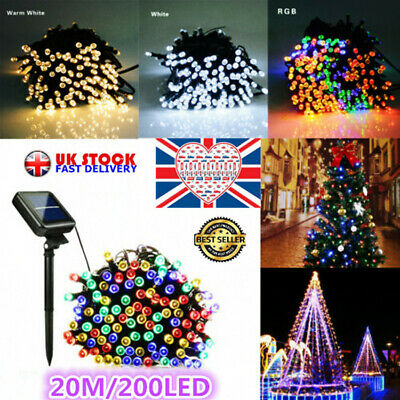 LED Solar String Lights Waterproof 20M 200LED Copper Wire Fairy Outdoor Garden