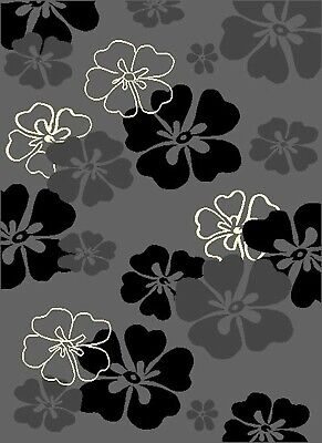 Modern Rugs Grey Flower Runners Mats Large Small Soft Smooth Stain Resistant