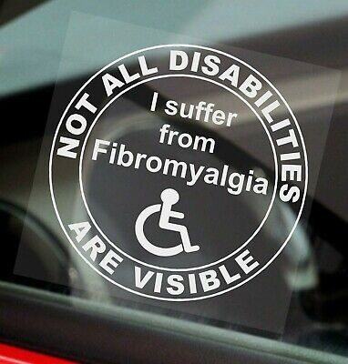 1 x Fibromyalgia-Not All Disabilities Are Visible-Round-Window Sticker-Sign,Car