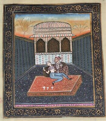 """Intricately Hand Painted Silk Indian Painting 9"""" X 10.5"""" Loving Couple - India"""
