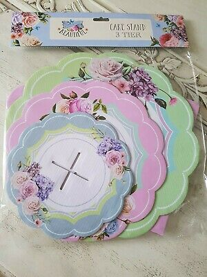 Shabby chic french country roses cardboard 3 tier cake stand alice in wonderland